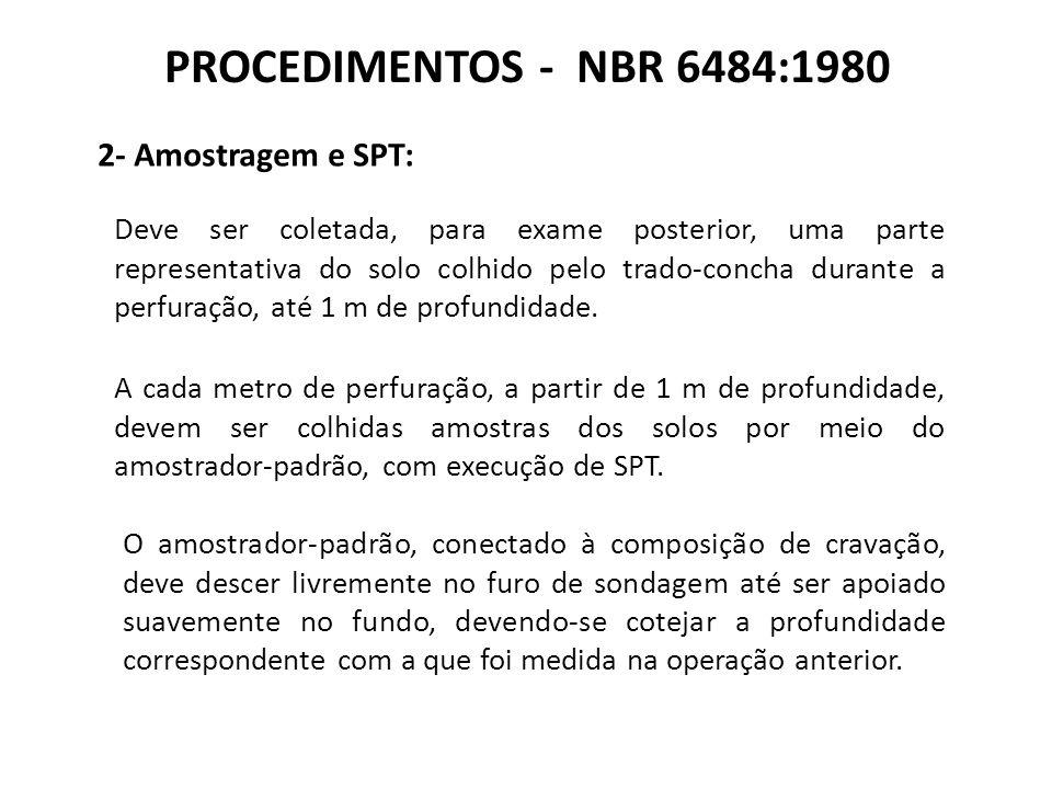 PROCEDIMENTOS - NBR 6484:1980 2- Amostragem e SPT: Deve ser coletada, para exame posterior, uma parte representativa do solo colhido pelo trado-concha