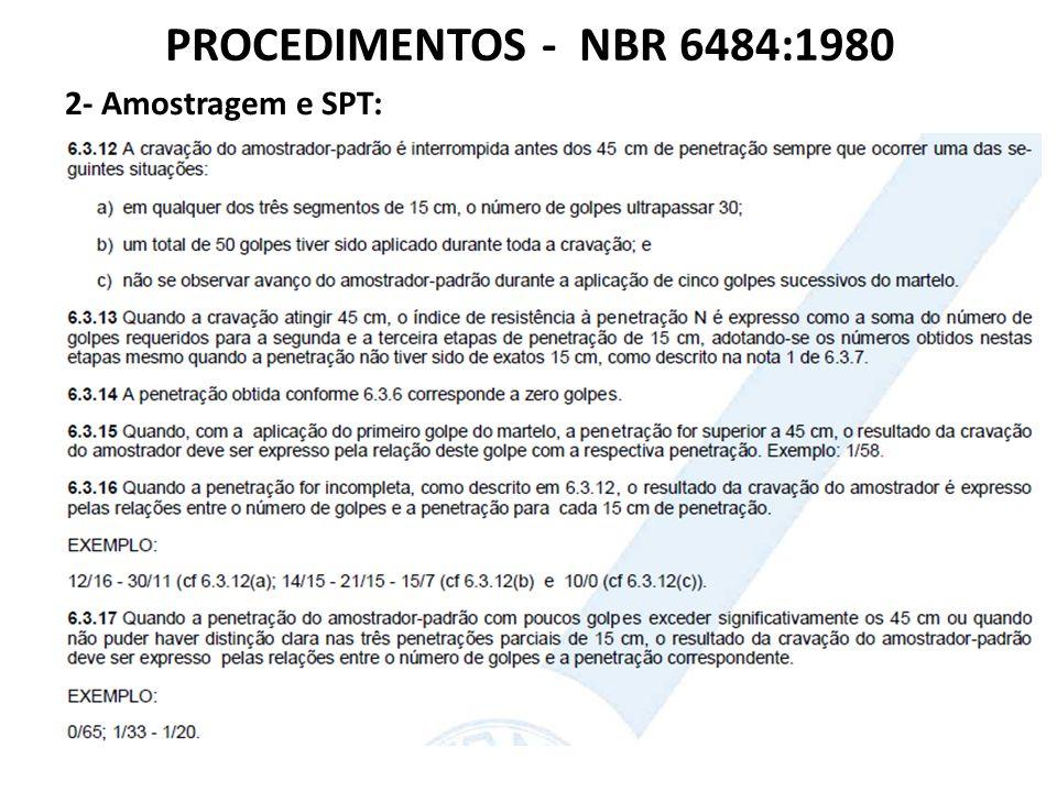 PROCEDIMENTOS - NBR 6484:1980 2- Amostragem e SPT: