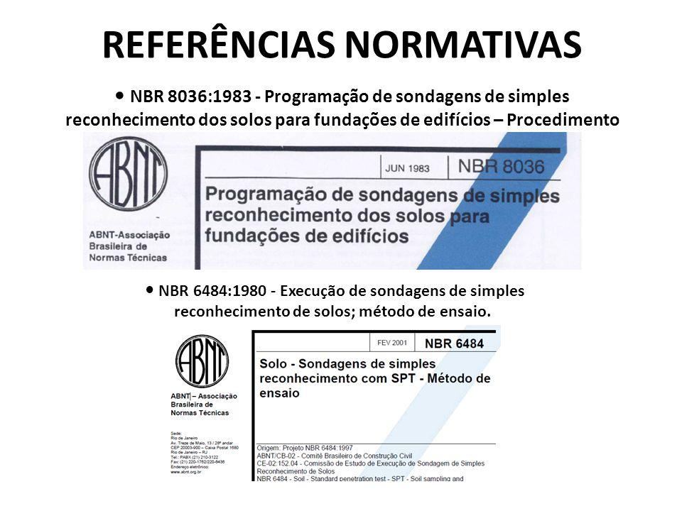 REFERÊNCIAS NORMATIVAS NBR 8036:1983 - Programação de sondagens de simples reconhecimento dos solos para fundações de edifícios – Procedimento NBR 648
