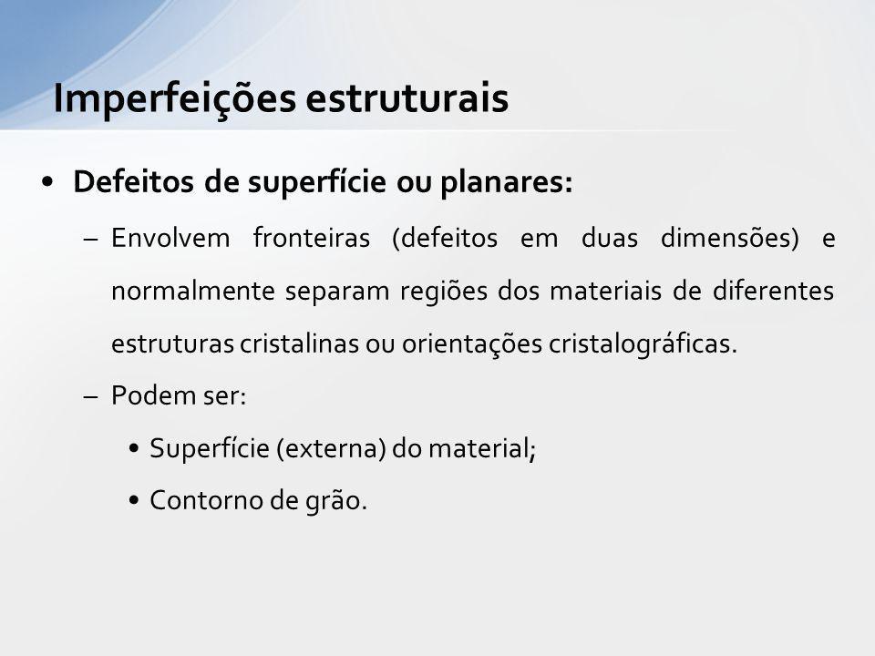 Defeitos de superfície ou planares: –Envolvem fronteiras (defeitos em duas dimensões) e normalmente separam regiões dos materiais de diferentes estrut