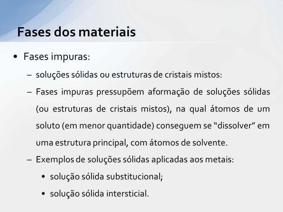 Fases impuras: soluções sólidas ou estruturas de cristais mistos Soluções sólidas em metais: –O aço é um exemplo de material que desenvolve uma solução sólida (em uma de suas formas alotrópicas), na qual átomos de carbono se dissolvem na estrutura do ferro.