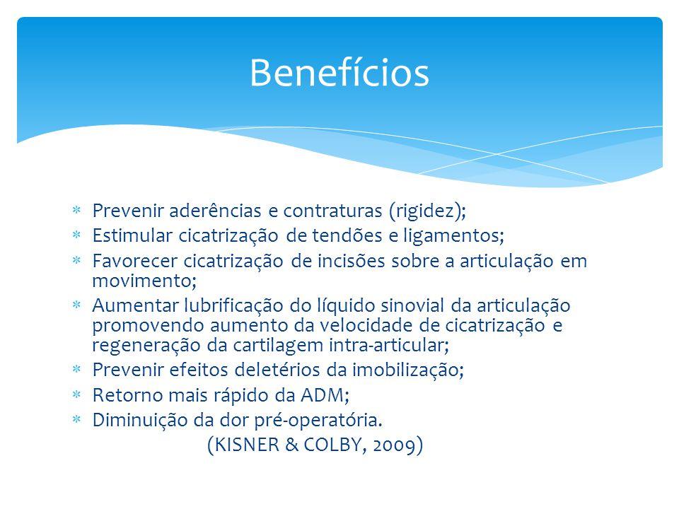 Prevenir aderências e contraturas (rigidez); Estimular cicatrização de tendões e ligamentos; Favorecer cicatrização de incisões sobre a articulação em