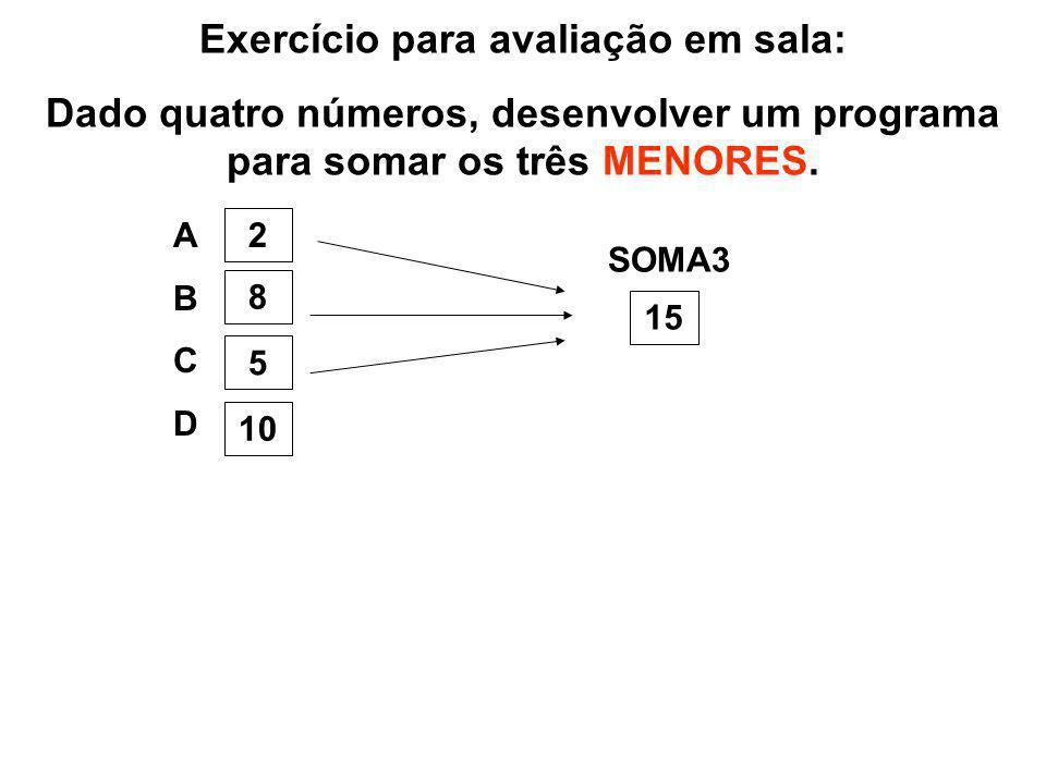 Exercício para avaliação em sala: Dado quatro números, desenvolver um programa para somar os três MENORES. ABCDABCD 2 8 5 10 SOMA3 15
