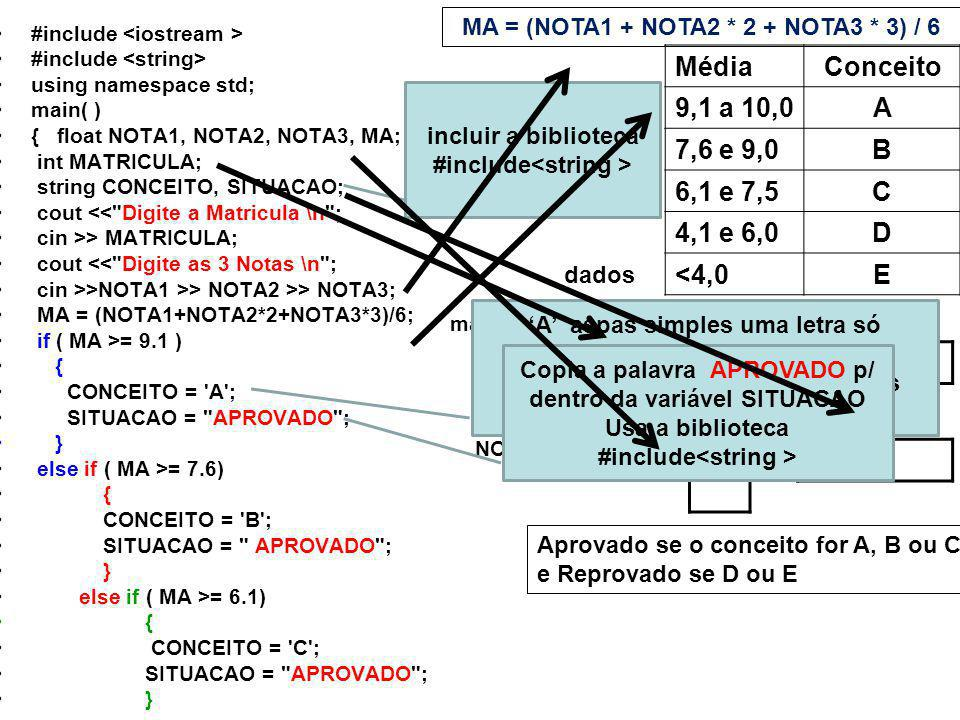 #include using namespace std; main( ) { float NOTA1, NOTA2, NOTA3, MA; int MATRICULA; string CONCEITO, SITUACAO; cout <<
