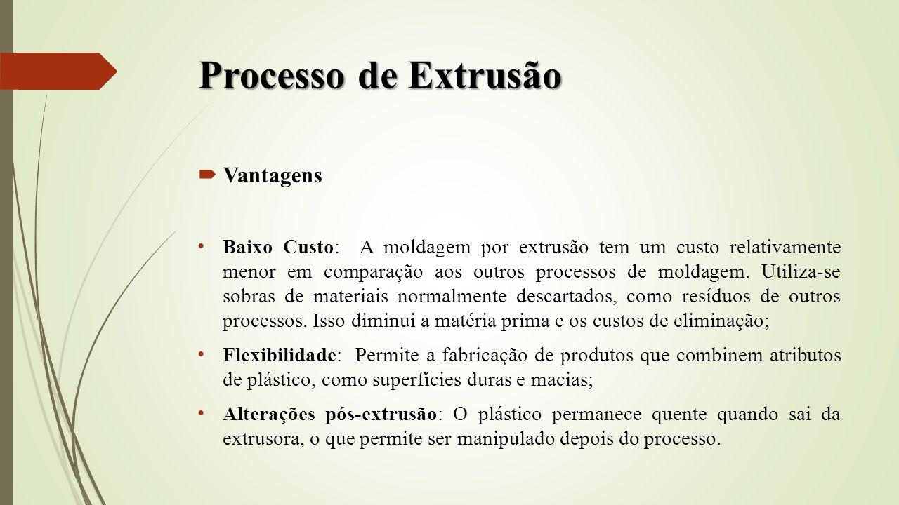 Processo de Extrusão Vantagens Baixo Custo: A moldagem por extrusão tem um custo relativamente menor em comparação aos outros processos de moldagem. U