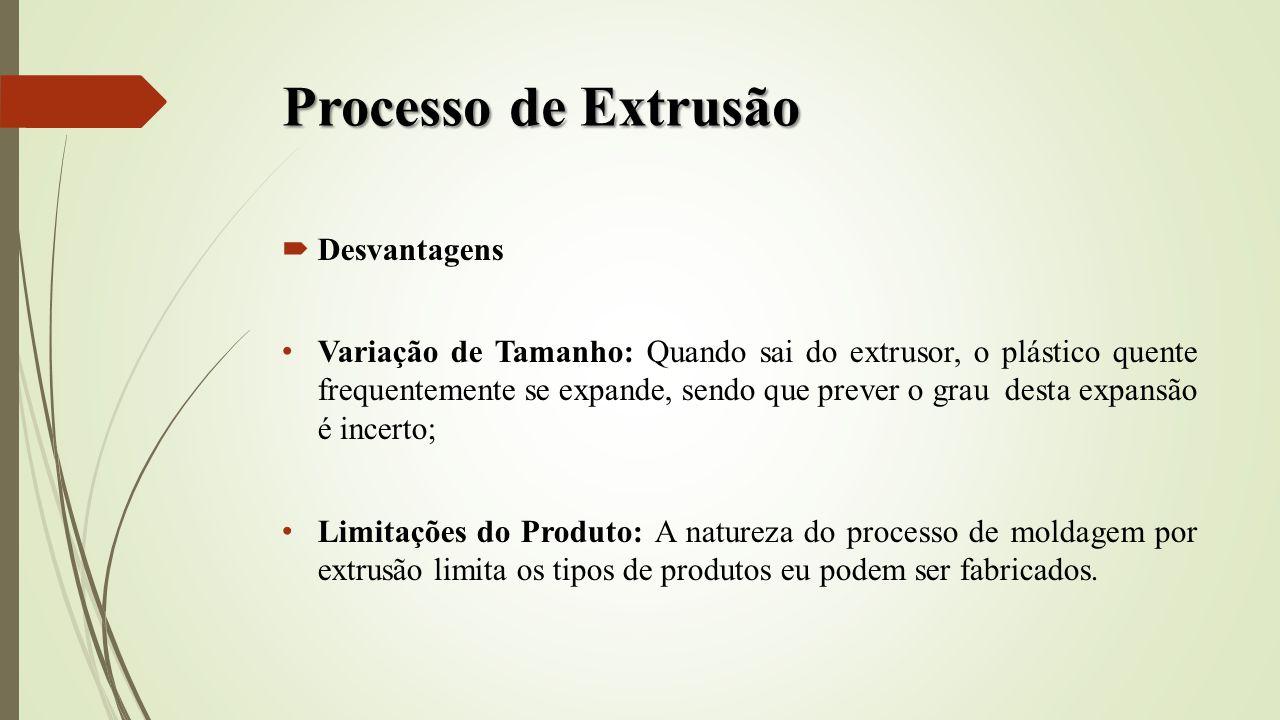 Processo de Extrusão Desvantagens Variação de Tamanho: Quando sai do extrusor, o plástico quente frequentemente se expande, sendo que prever o grau de
