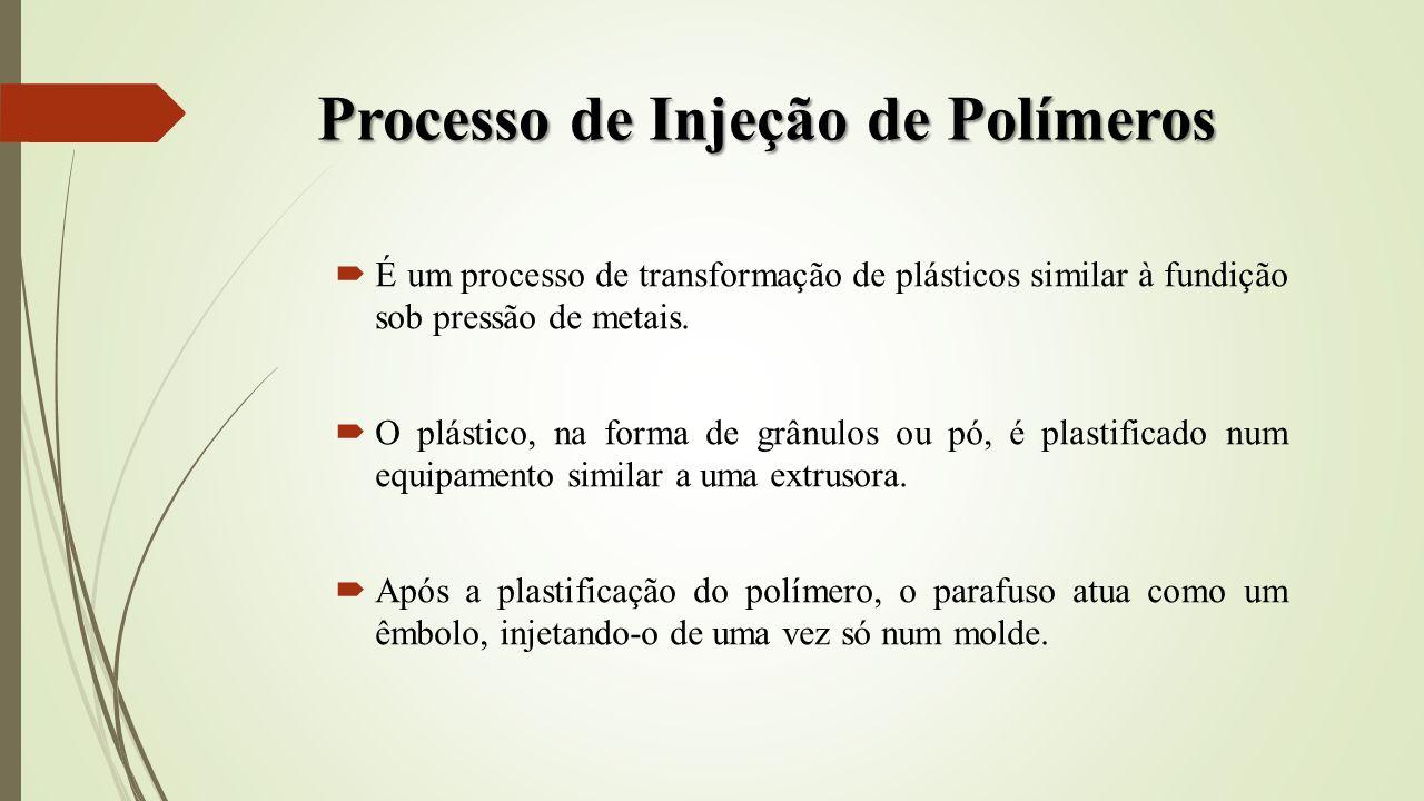 Processo de Injeção de Polímeros É um processo de transformação de plásticos similar à fundição sob pressão de metais. O plástico, na forma de grânulo