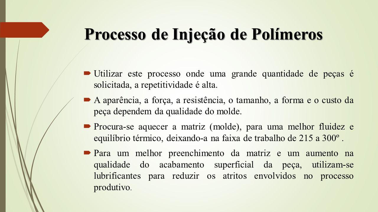Processo de Injeção de Polímeros Utilizar este processo onde uma grande quantidade de peças é solicitada, a repetitividade é alta. A aparência, a forç