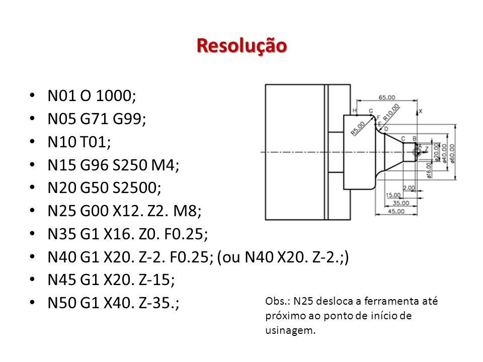 Resolução N01 O 1000; N05 G71 G99; N10 T01; N15 G96 S250 M4; N20 G50 S2500; N25 G00 X12. Z2. M8; N35 G1 X16. Z0. F0.25; N40 G1 X20. Z-2. F0.25; (ou N4