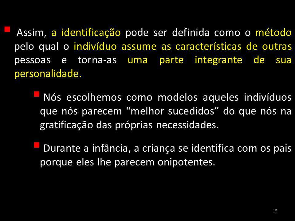 Assim, a identificação pode ser definida como o método pelo qual o indivíduo assume as características de outras pessoas e torna-as uma parte integran