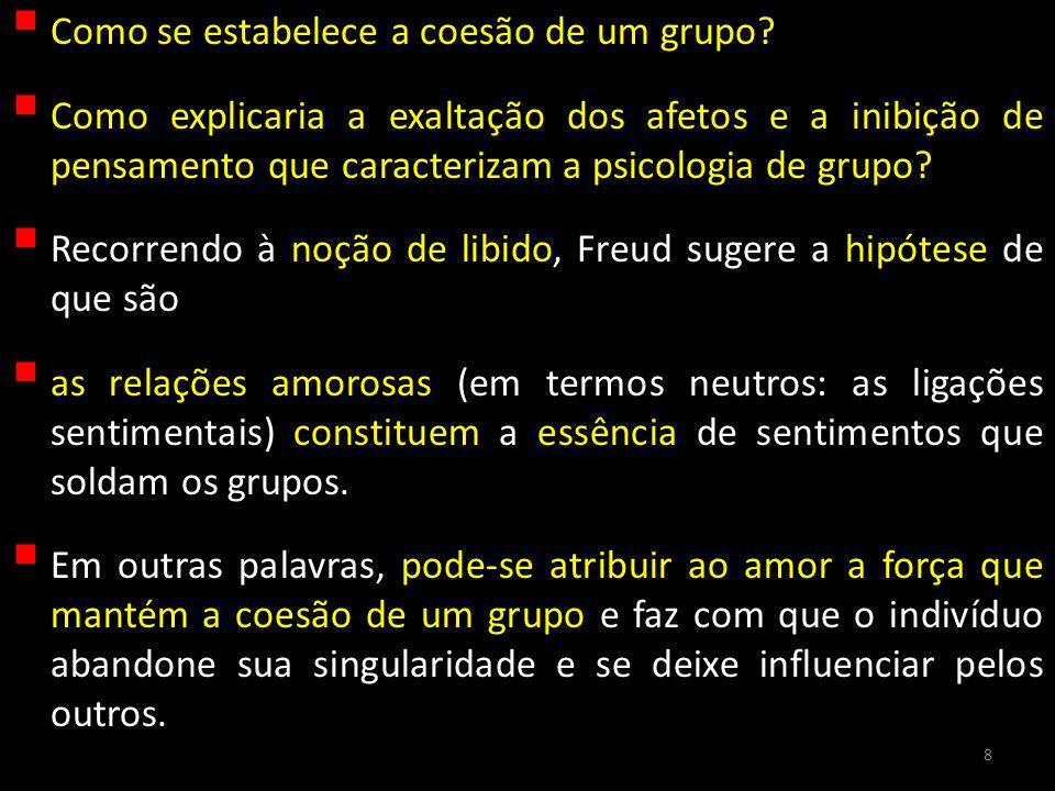 Assim, nos grupos, cada indivíduo isolado está ligado libidinalmente, de um lado, ao líder, de outro, aos indivíduos do grupo.