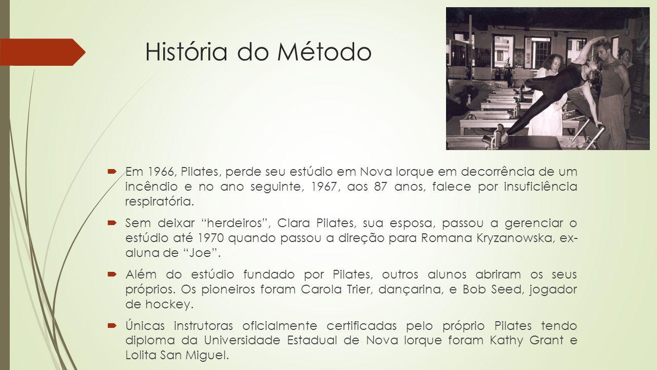 História do Método Em 1966, Pilates, perde seu estúdio em Nova Iorque em decorrência de um incêndio e no ano seguinte, 1967, aos 87 anos, falece por insuficiência respiratória.