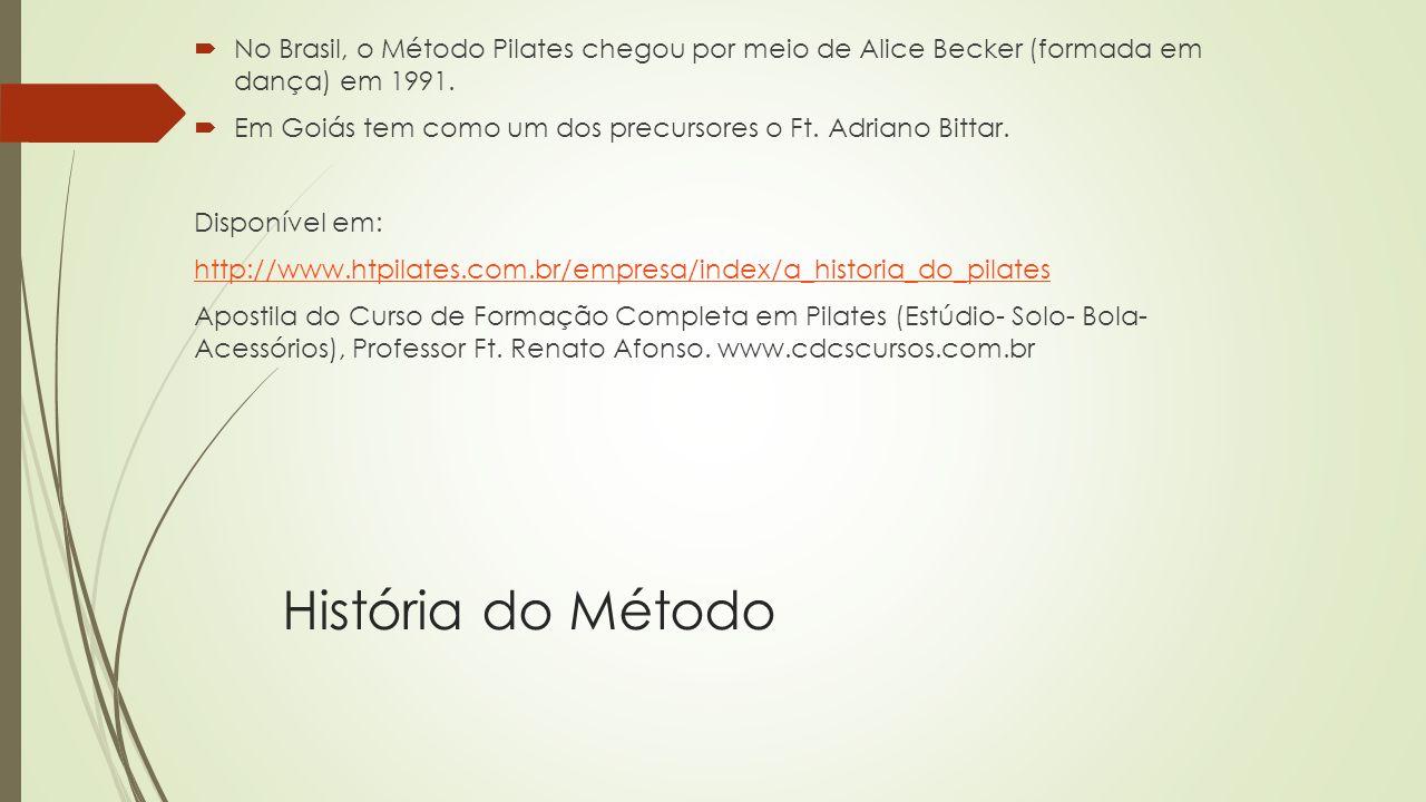 História do Método No Brasil, o Método Pilates chegou por meio de Alice Becker (formada em dança) em 1991.