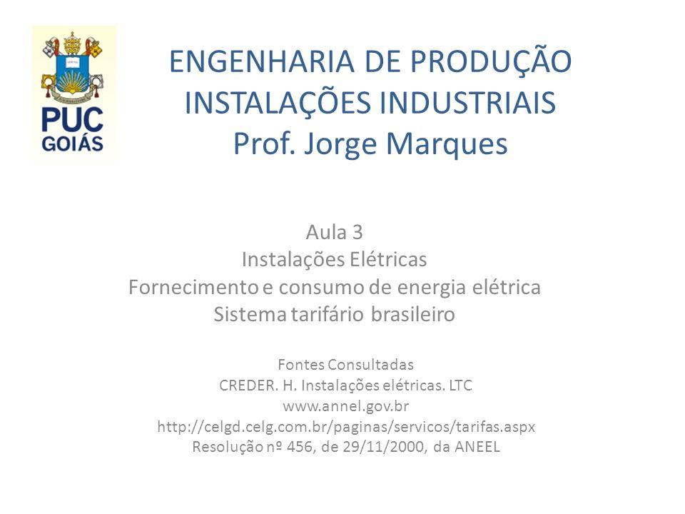 ENGENHARIA DE PRODUÇÃO INSTALAÇÕES INDUSTRIAIS Prof. Jorge Marques Aula 3 Instalações Elétricas Fornecimento e consumo de energia elétrica Sistema tar