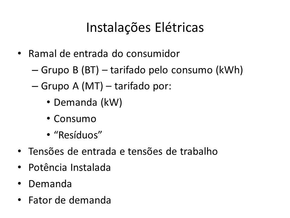 Instalações Elétricas Ramal de entrada do consumidor – Grupo B (BT) – tarifado pelo consumo (kWh) – Grupo A (MT) – tarifado por: Demanda (kW) Consumo