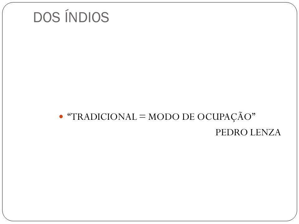 DOS ÍNDIOS TRADICIONAL = MODO DE OCUPAÇÃO PEDRO LENZA