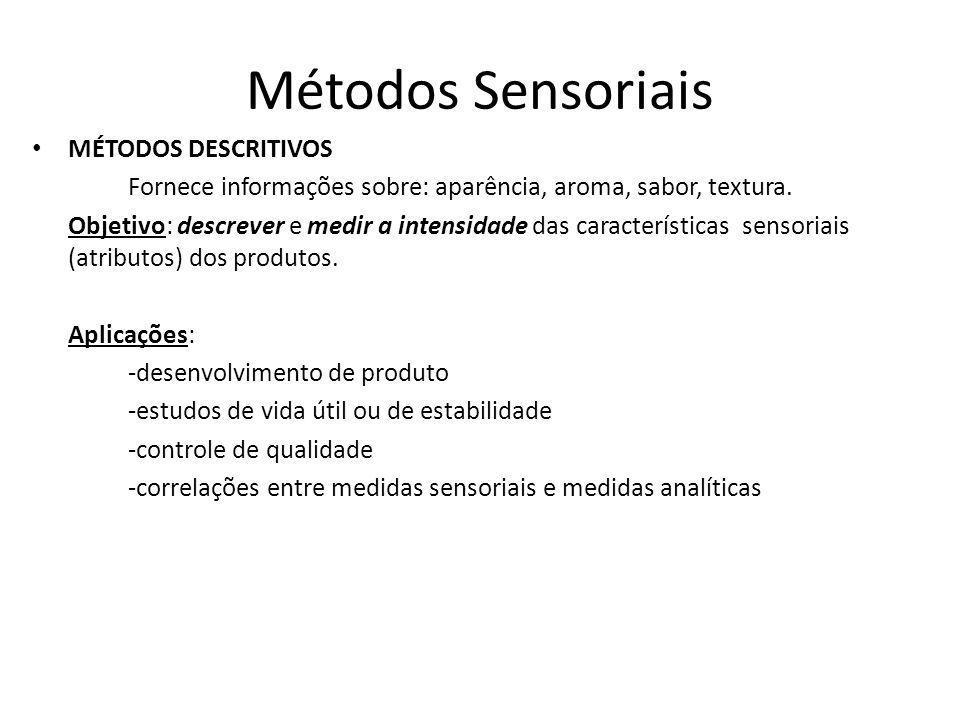 Métodos Sensoriais MÉTODOS DESCRITIVOS Fornece informações sobre: aparência, aroma, sabor, textura.