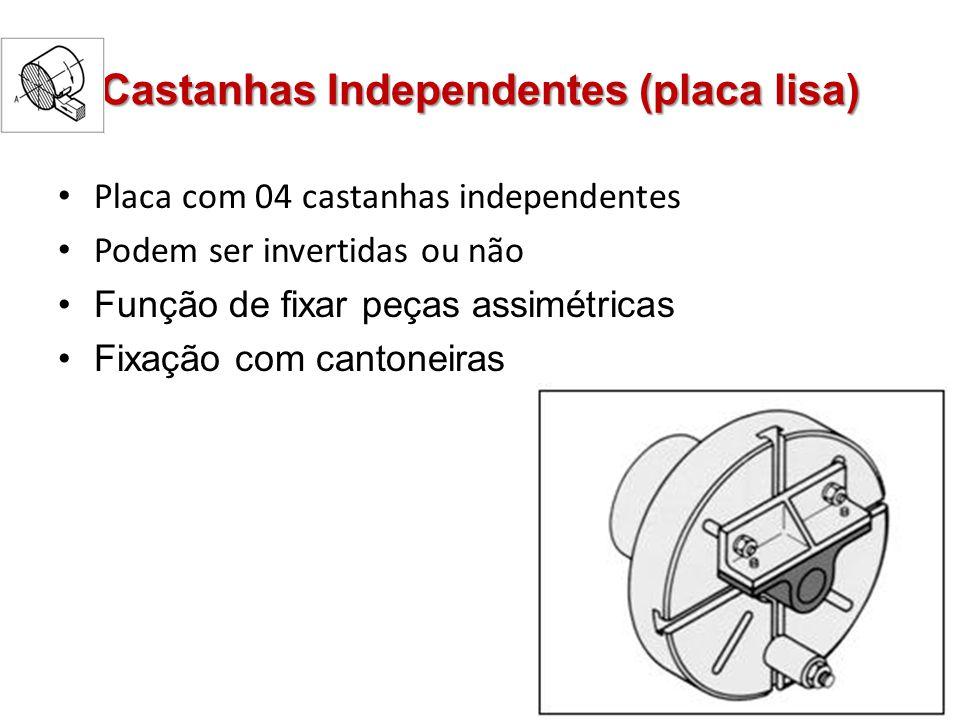 Castanhas Independentes (placa lisa) Placa com 04 castanhas independentes Podem ser invertidas ou não Função de fixar peças assimétricas Fixação com c