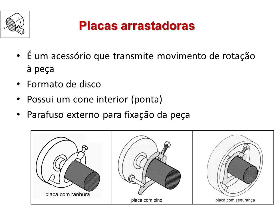 Placas arrastadoras É um acessório que transmite movimento de rotação à peça Formato de disco Possui um cone interior (ponta) Parafuso externo para fi