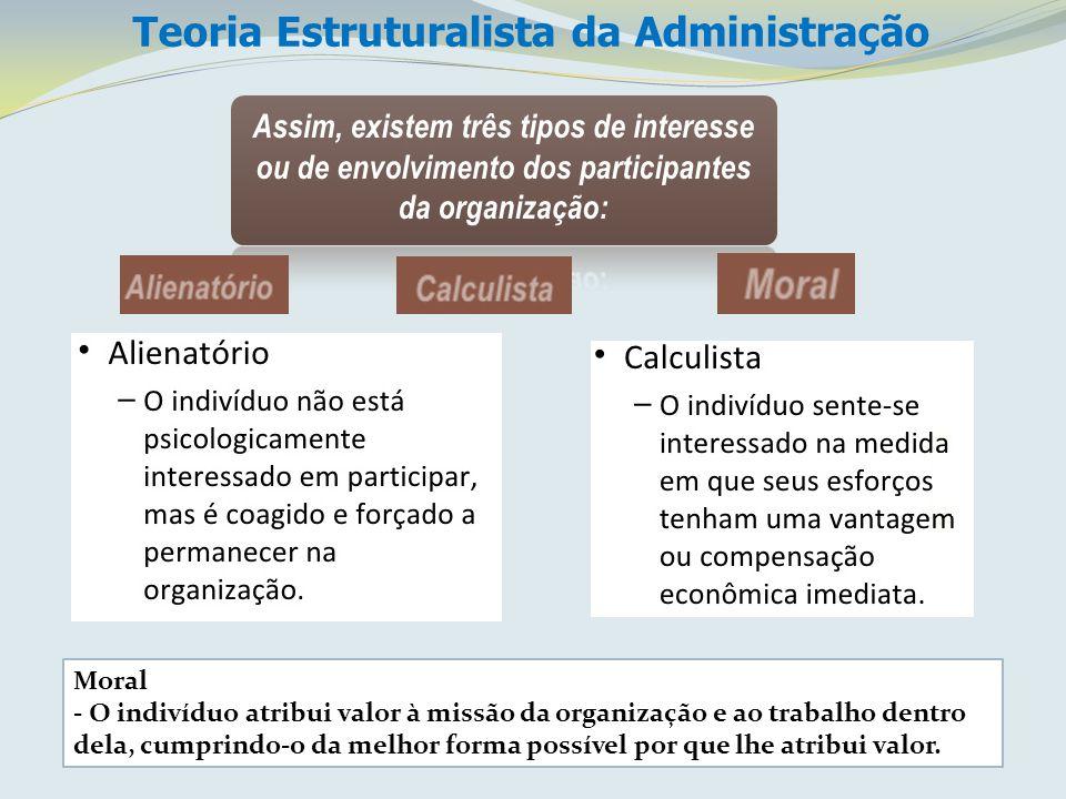 Moral - O indivíduo atribui valor à missão da organização e ao trabalho dentro dela, cumprindo-o da melhor forma possível por que lhe atribui valor.