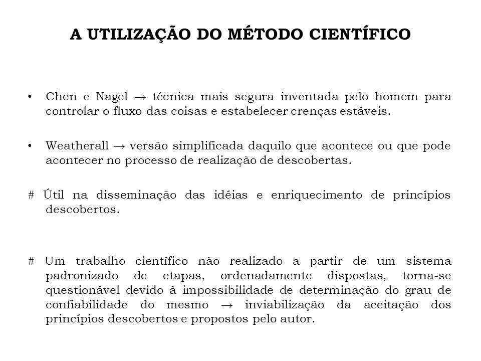 A UTILIZAÇÃO DO MÉTODO CIENTÍFICO Chen e Nagel técnica mais segura inventada pelo homem para controlar o fluxo das coisas e estabelecer crenças estáve