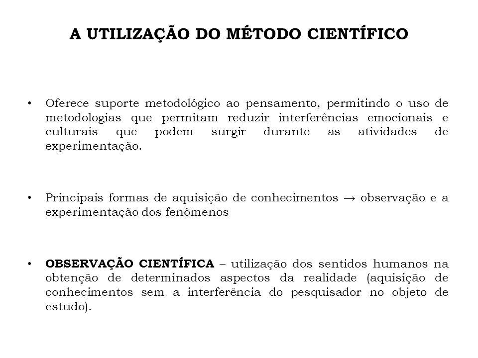 A UTILIZAÇÃO DO MÉTODO CIENTÍFICO Oferece suporte metodológico ao pensamento, permitindo o uso de metodologias que permitam reduzir interferências emo