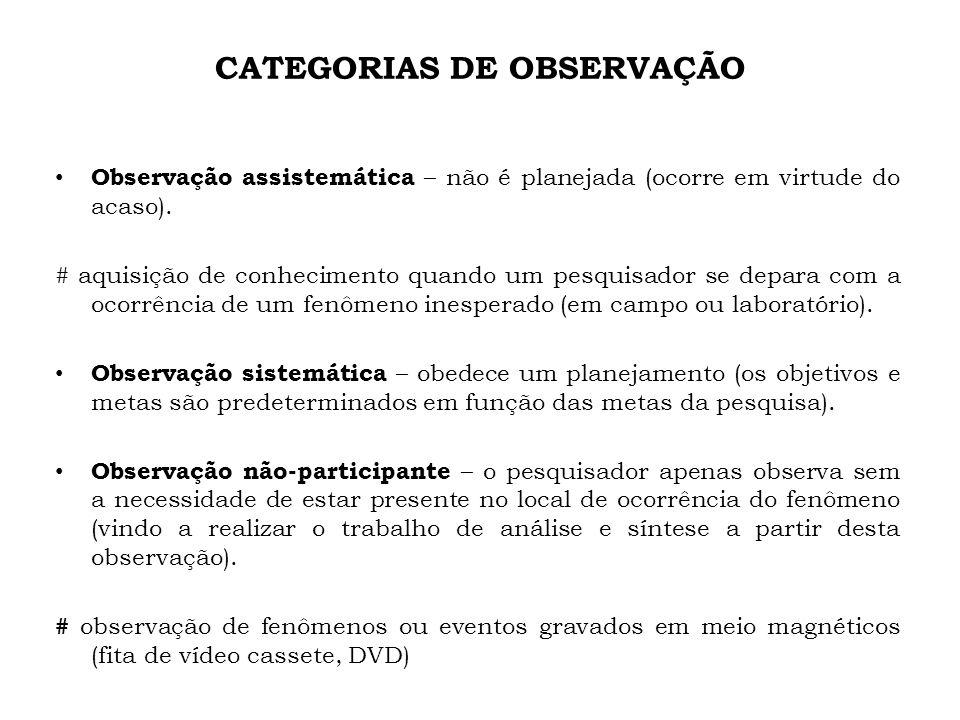 CATEGORIAS DE OBSERVAÇÃO Observação assistemática – não é planejada (ocorre em virtude do acaso). # aquisição de conhecimento quando um pesquisador se