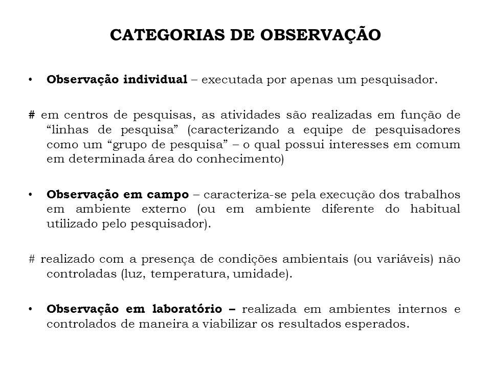 CATEGORIAS DE OBSERVAÇÃO Observação individual – executada por apenas um pesquisador. # em centros de pesquisas, as atividades são realizadas em funçã