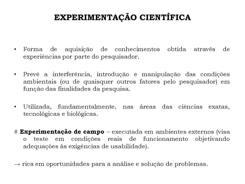 EXPERIMENTAÇÃO CIENTÍFICA Forma de aquisição de conhecimentos obtida através de experiências por parte do pesquisador. Prevê a interferência, introduç