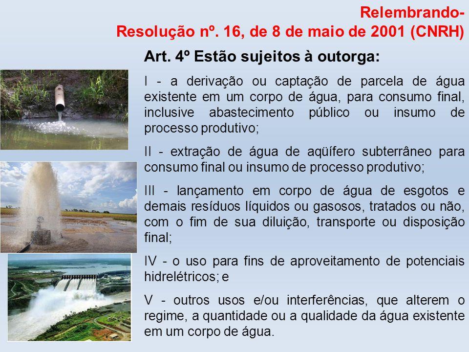 Relembrando- Resolução nº. 16, de 8 de maio de 2001 (CNRH) Art. 4º Estão sujeitos à outorga: I - a derivação ou captação de parcela de água existente