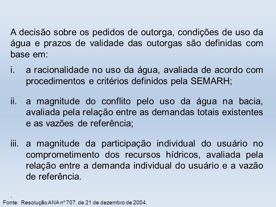 Fonte: Resolução ANA nº 707, de 21 de dezembro de 2004, A decisão sobre os pedidos de outorga, condições de uso da água e prazos de validade das outor