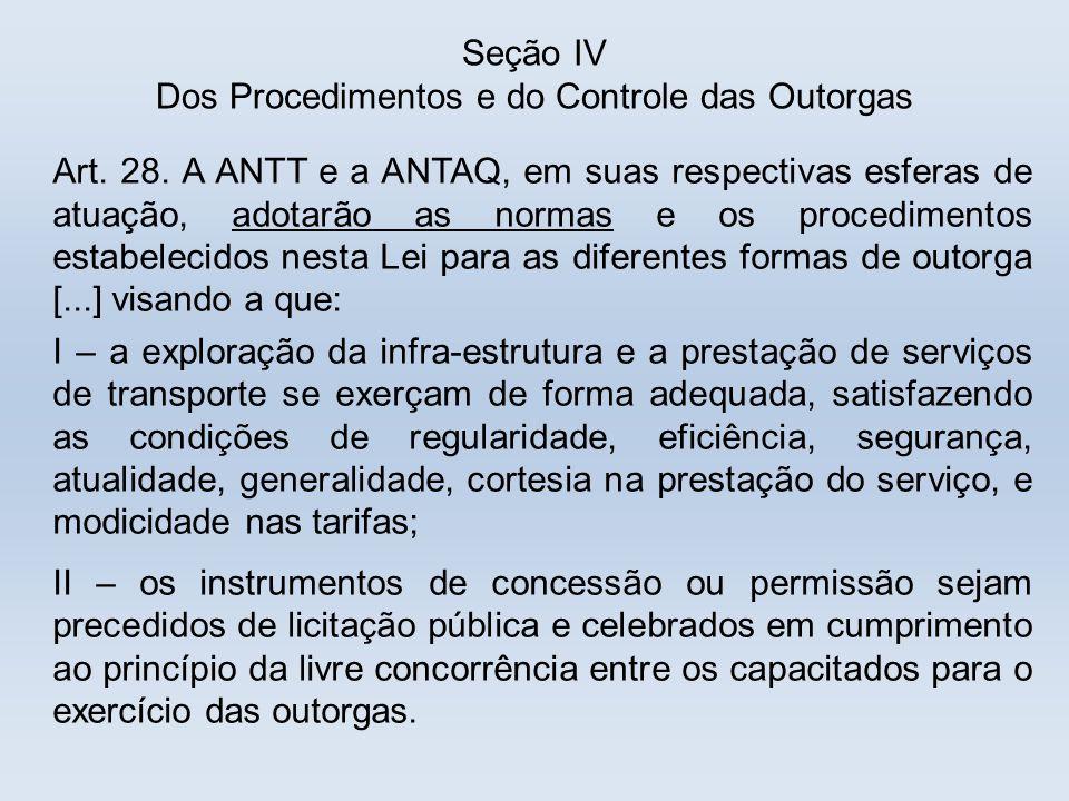 Seção IV Dos Procedimentos e do Controle das Outorgas Art. 28. A ANTT e a ANTAQ, em suas respectivas esferas de atuação, adotarão as normas e os proce