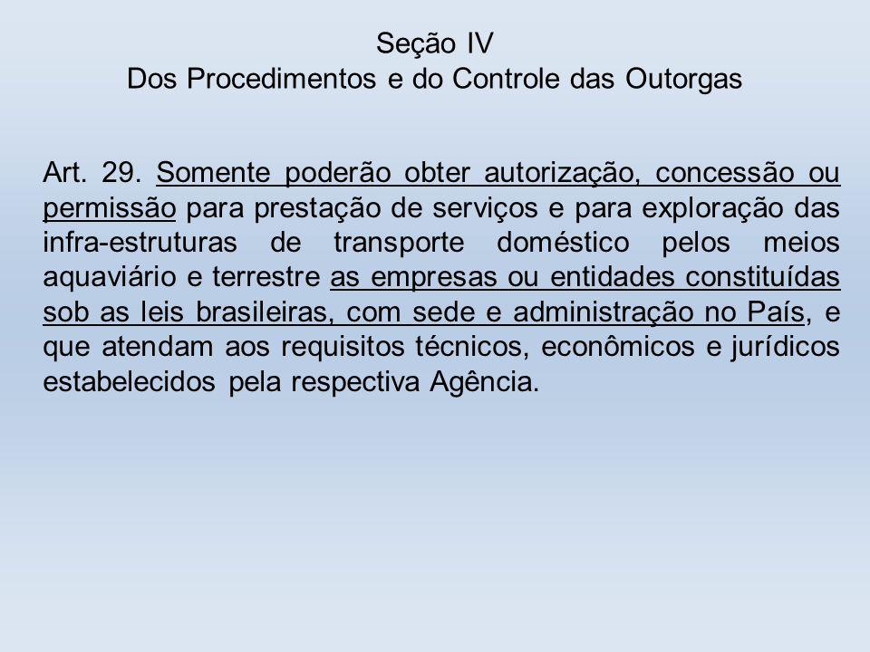 Seção IV Dos Procedimentos e do Controle das Outorgas Art. 29. Somente poderão obter autorização, concessão ou permissão para prestação de serviços e