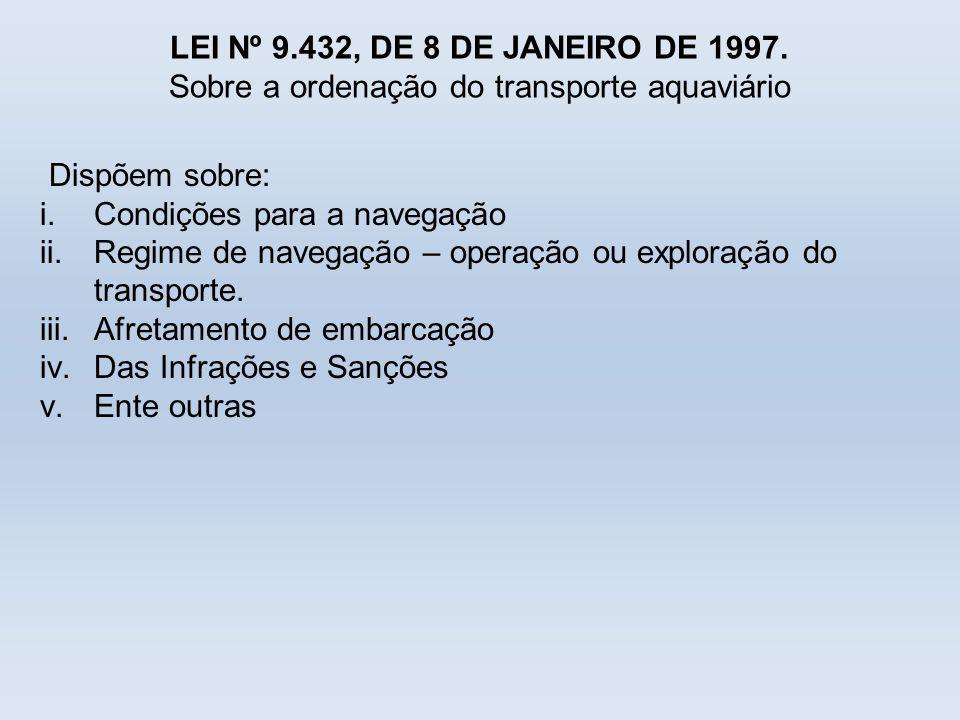 LEI Nº 9.432, DE 8 DE JANEIRO DE 1997. Sobre a ordenação do transporte aquaviário Dispõem sobre: i.Condições para a navegação ii.Regime de navegação –