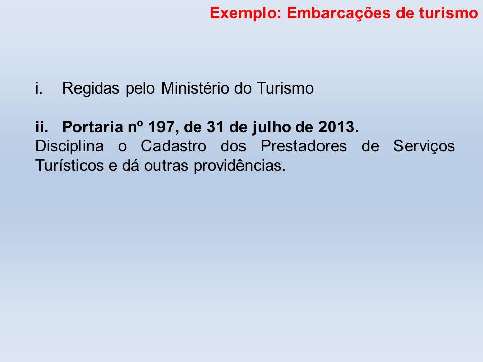 Exemplo: Embarcações de turismo i.Regidas pelo Ministério do Turismo ii.Portaria nº 197, de 31 de julho de 2013. Disciplina o Cadastro dos Prestadores