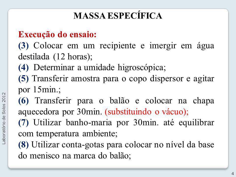 MASSA ESPECÍFICA Execução do ensaio: (3) Colocar em um recipiente e imergir em água destilada (12 horas); (4) Determinar a umidade higroscópica; (5) T