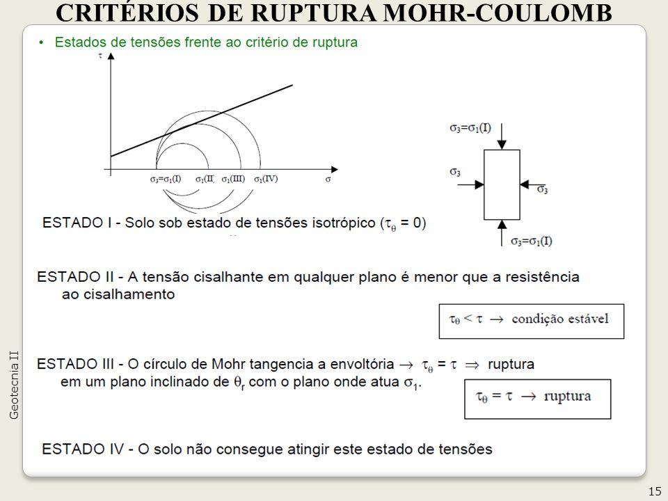 CRITÉRIOS DE RUPTURA MOHR-COULOMB 15 Geotecnia II