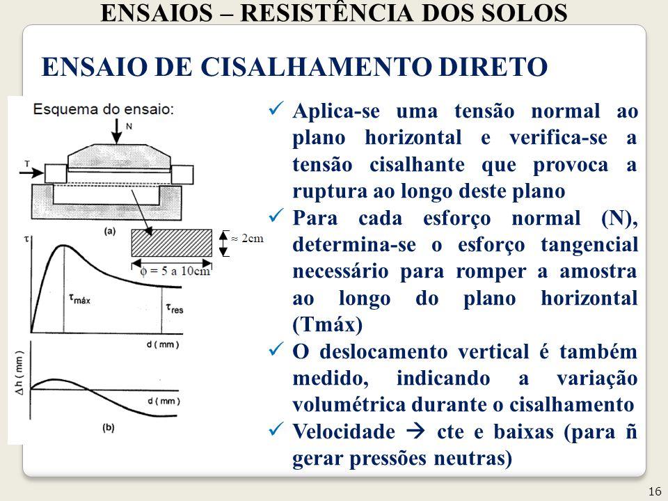 ENSAIOS – RESISTÊNCIA DOS SOLOS 16 Geotecnia II ENSAIO DE CISALHAMENTO DIRETO Aplica-se uma tensão normal ao plano horizontal e verifica-se a tensão cisalhante que provoca a ruptura ao longo deste plano Para cada esforço normal (N), determina-se o esforço tangencial necessário para romper a amostra ao longo do plano horizontal (Tmáx) O deslocamento vertical é também medido, indicando a variação volumétrica durante o cisalhamento Velocidade cte e baixas (para ñ gerar pressões neutras)
