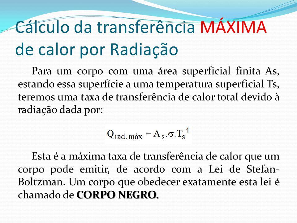 Cálculo da transferência MÁXIMA de calor por Radiação Para um corpo com uma área superficial finita As, estando essa superfície a uma temperatura supe