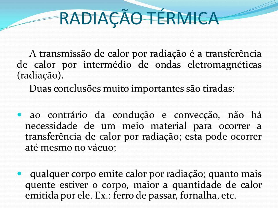 RADIAÇÃO TÉRMICA A transmissão de calor por radiação é a transferência de calor por intermédio de ondas eletromagnéticas (radiação). Duas conclusões m