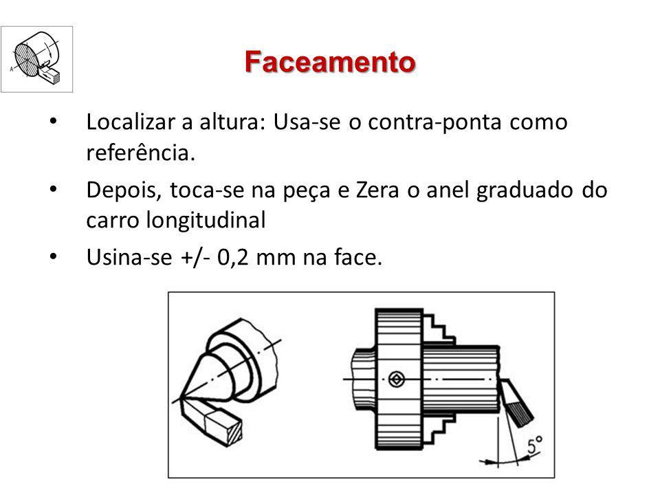 Faceamento Localizar a altura: Usa-se o contra-ponta como referência. Depois, toca-se na peça e Zera o anel graduado do carro longitudinal Usina-se +/