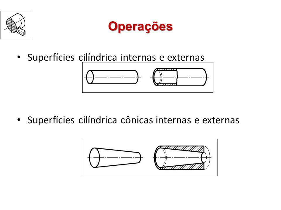 Operações Superfícies cilíndrica internas e externas Superfícies cilíndrica cônicas internas e externas