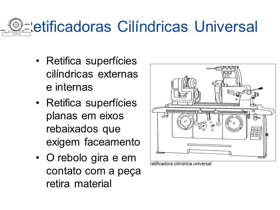 Retificadoras Cilíndricas Universal Retifica superfícies cilíndricas externas e internas Retifica superfícies planas em eixos rebaixados que exigem fa