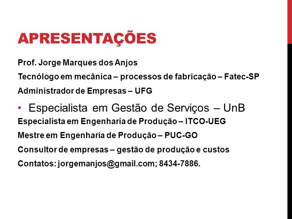 APRESENTAÇÕES Prof. Jorge Marques dos Anjos Tecnólogo em mecânica – processos de fabricação – Fatec-SP Administrador de Empresas – UFG Especialista em