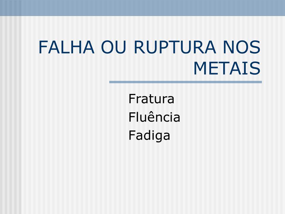 FALHA OU RUPTURA NOS METAIS Fratura Fluência Fadiga