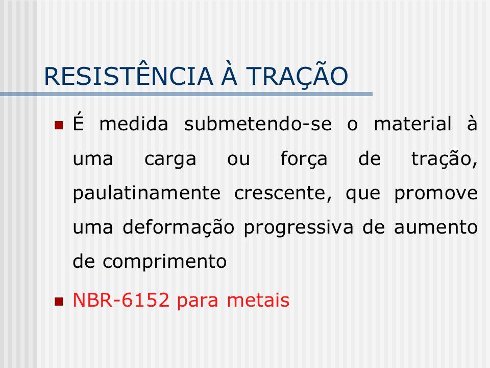 RESISTÊNCIA À TRAÇÃO É medida submetendo-se o material à uma carga ou força de tração, paulatinamente crescente, que promove uma deformação progressiva de aumento de comprimento NBR-6152 para metais