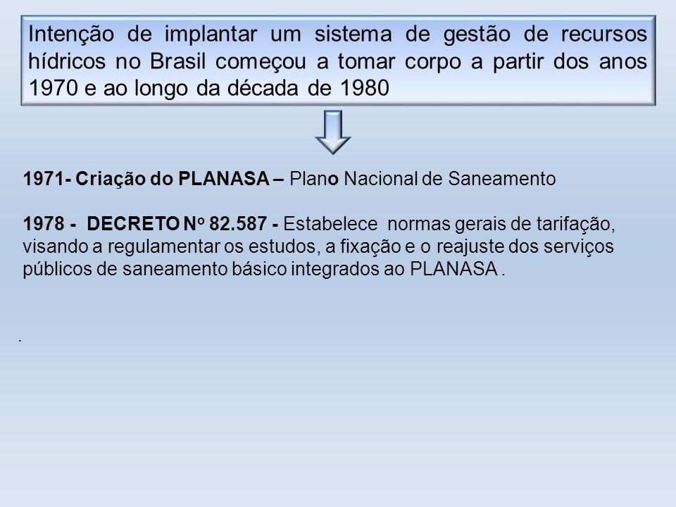 Intenção de implantar um sistema de gestão de recursos hídricos no Brasil começou a tomar corpo a partir dos anos 1970 e ao longo da década de 1980 19