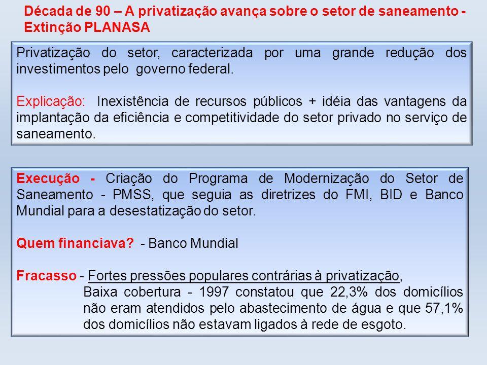 Privatização do setor, caracterizada por uma grande redução dos investimentos pelo governo federal. Explicação: Inexistência de recursos públicos + id