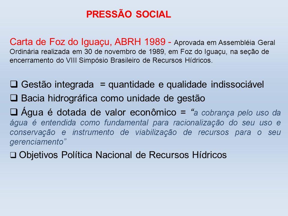 PRESSÃO SOCIAL Carta de Foz do Iguaçu, ABRH 1989 - Aprovada em Assembléia Geral Ordinária realizada em 30 de novembro de 1989, em Foz do Iguaçu, na se