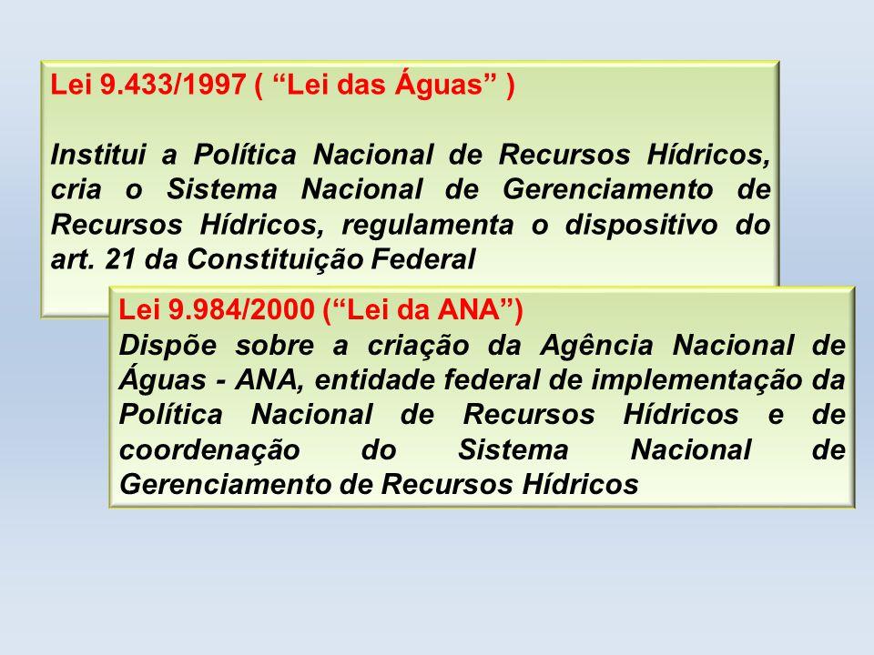 Lei 9.433/1997 ( Lei das Águas ) Institui a Política Nacional de Recursos Hídricos, cria o Sistema Nacional de Gerenciamento de Recursos Hídricos, reg